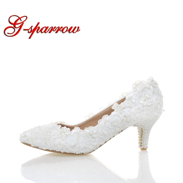 White Lace Low Heel Wedding Bridal Shoes Kitten Heel Bridesmaid Shoes  Elegant Party Embellish Prom Shoes Lady Dancing Shoes 562b82124cbd