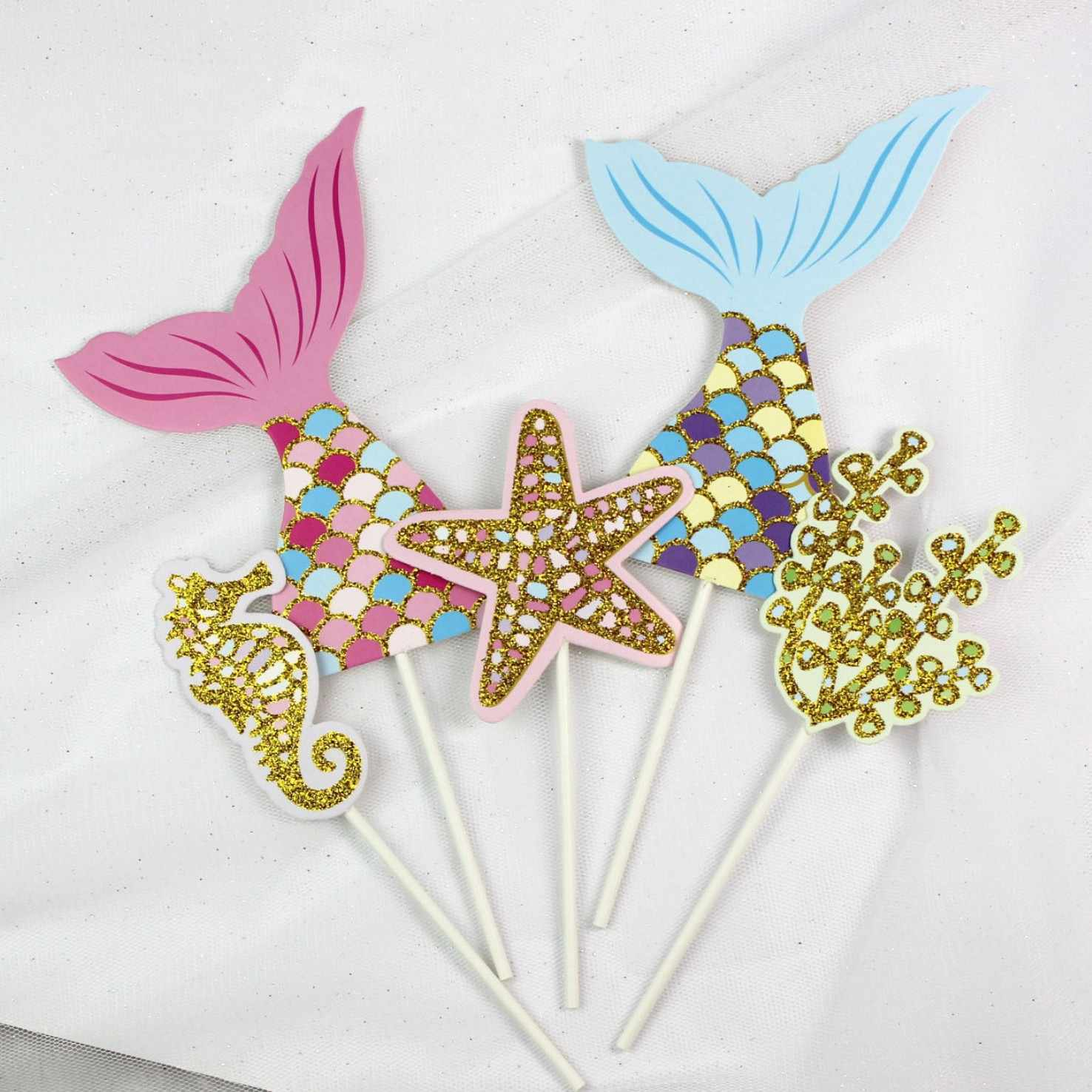 New Year's Products 1 Set Mermaid Theme Cake Decoration Birthday Party Decorations Kids Baby Shower Mermaid Party Home Decor. Q