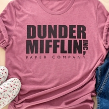 New Fashion Women T-Shirt Dunder Mifflin Paper Company Letter Print T-Shirt Summer Casual Cute Short