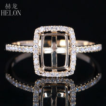 HELON 6X8mm Cushion 0.2ct Natural Diamond Semi Mount Gorgeous Wedding Party Jewelry Real 14K Yellow Gold Engagement Wedding Ring