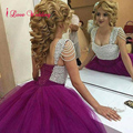 Fashion Purple Wedding Dresses Ball Gown Tulle with Silver Beading Lace Up Back Big Bride Bridal Gowns Custom Made Plus Size