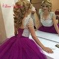 Moda Roxo Vestidos de Casamento vestido de Baile de Tule com Beading Prata Lace Up Voltar Big Noiva Vestidos de Noiva Custom Made Plus Size tamanho