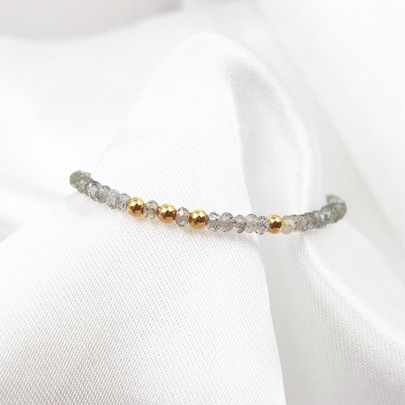 LiiJi Unique Natural Stone Labradorite 2x3mm 925 Sterling silver Gold Color Resizable Bracelet 6''-8''