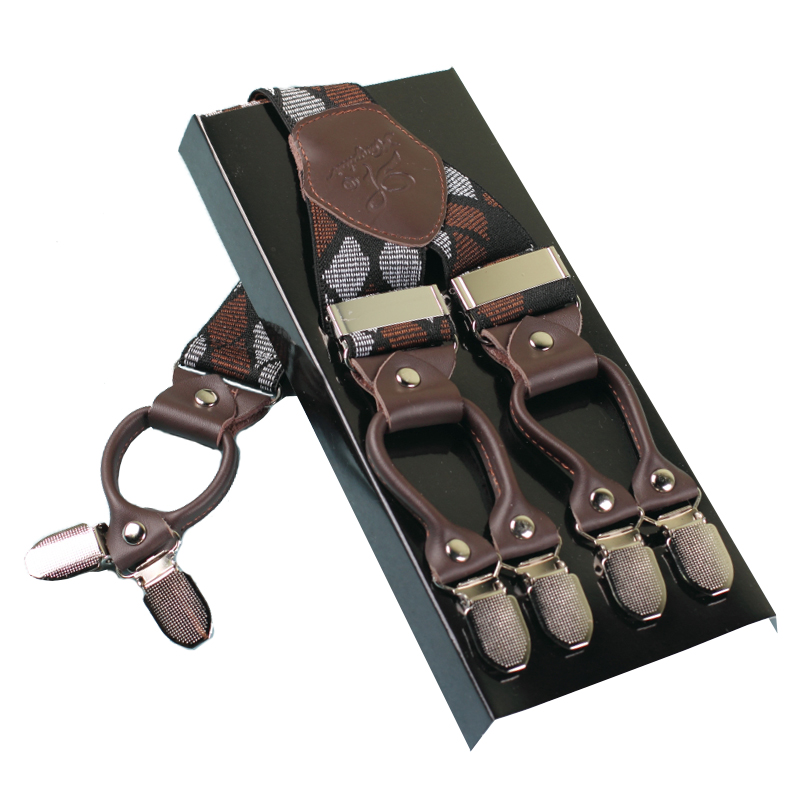 Kangdai high quality male/female/ladies/adult men suspenders with 6 clips and elastic straps for janes/pants, suspenders