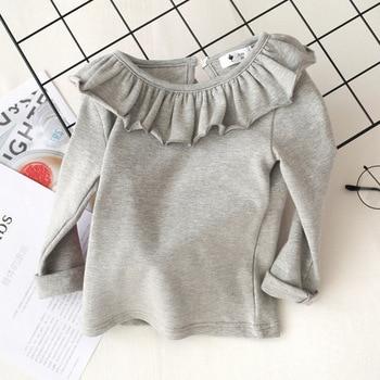 Toddler Kids Baby Girls Cotton shirt Long Sleeve Solid Tops Spring Autumn Girls Basic Tee Shirt RT508 4
