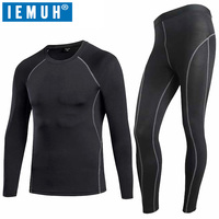 IEMUH Winter Thermal Underwear Sets Men Quick Dry Gymming Anti-microbial Stretch Men's Thermo Underwear Male Long Johns Fitnes