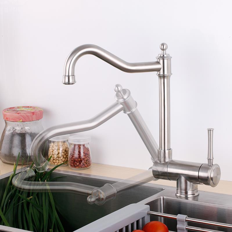 Lie down kitchen faucet window tap single handle special design 304 stainless steel