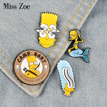 Мардж Барт мистер Бернс эмалированные значки на булавке, пользовательские броши, Мультяшные броши для сумки, одежды, нагрудные значки, семейная комедийная юморная бижутерия, подарок