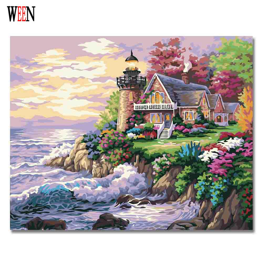 WEEN Sea Dream Pictures By numbers Abstract DIY Hand Painted Digital Oil Painting Wall Acrylic Coloring By Numbers On Canvas