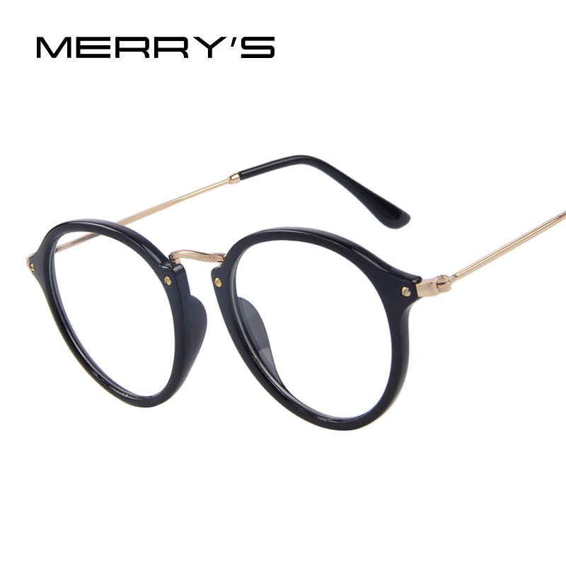 Donne di Modo MERRY'S Clear Lens Occhiali Occhiali Retro Sereno Occhiali Cornice Ovale In Metallo Templi