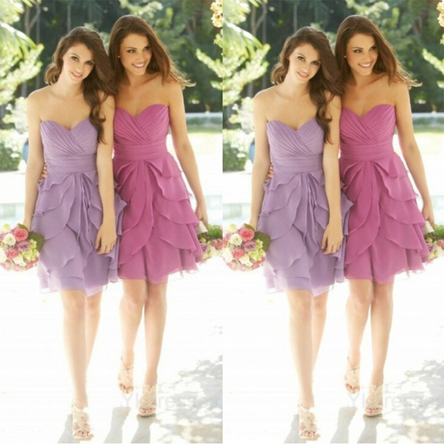 Romantic Short Light Purple/Lavender Bridesmaid Dress Tiered Ruffle ...