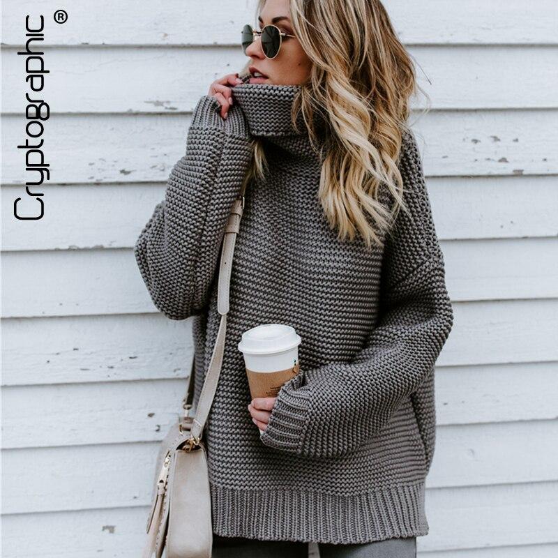 Criptográfico de moda de punto cuello alto manga larga suelto jersey de las mujeres de invierno de 2018 tops ropa de abrigo suéter mujer