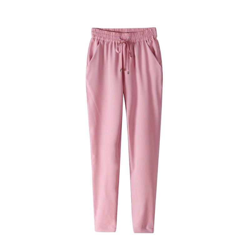 New Fashions Women's Pants Long Casual Harem Pants Women Pure Color Elastic Chiffon Trousers