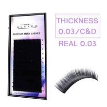 GLESUM  0.03 C/D 8-15length Mink Eyelash Extension, Super Thin Soft Material Lash,Best-selling