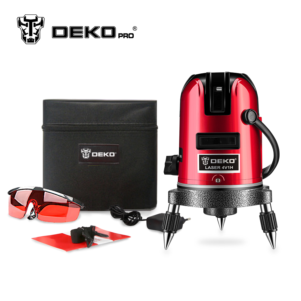 DEKOPRO 5 laser lines 6 points 360 degrees rotary 635nm outdoor mode - receiver and tilt slash available auto line laser level цены онлайн
