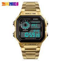 SKMEI Men Luxury Clock Watch Digital Sport Fashion Man Watches Pedomete 12/24 Hour Top Brand Business relogio masculino 1382