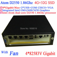 Atom mini pc web server Intel dual core D2550 1.86Ghz 4*82583V Gigabit LAN Wake on LAN Watchdog 4G RAM 32G SSD Windows Linux