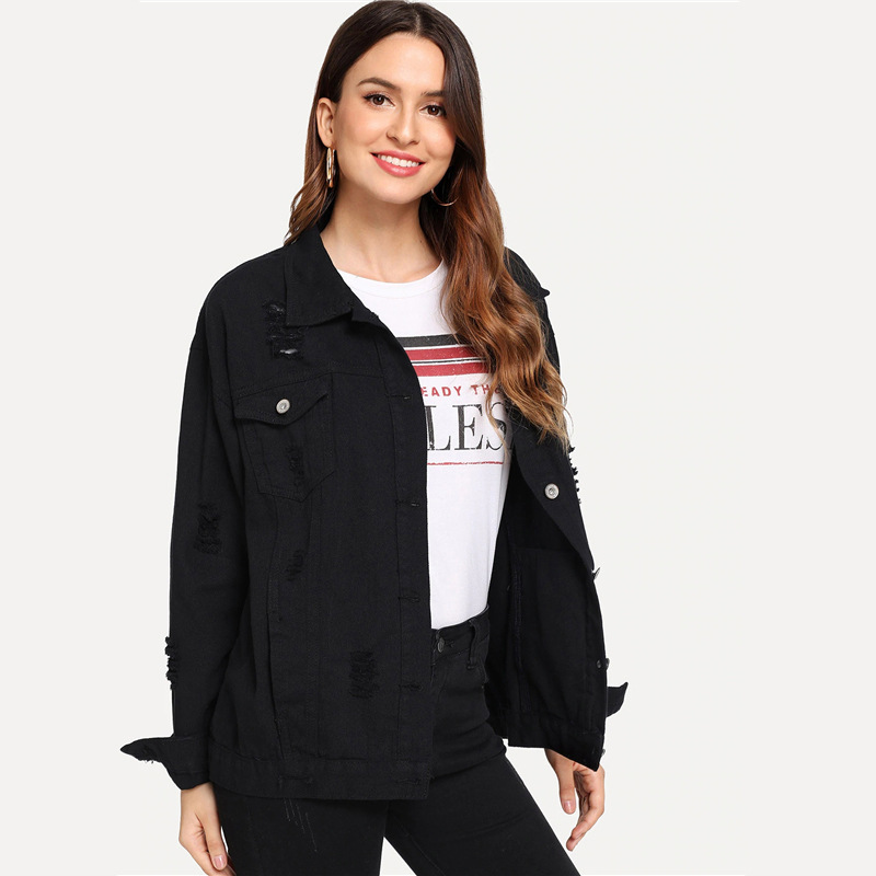 COLROVIE Ripped Drop Shoulder Women Denim Jackets Black White Oversize Purple Casual Female Jacket Coat Chic Jacket for Girls 18