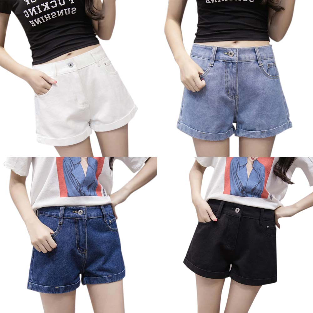 Fashion Summer Women Denim Shorts Solid Color High Waist Curling Slim Casual Ladies Girls Wide Leg Jeans Plus Size 25-32 FS99