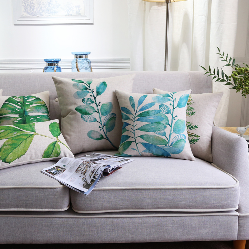 Tropical leaves green country decor cushion cover cotton for Cojines sofa exterior