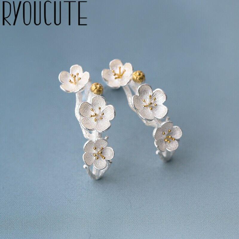 Elegant Silver Color  Big Plum Flower Earrings For Women Wedding Ladies Earrings Statement Jewelry