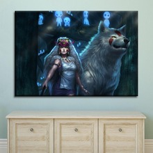 Modern Canvas Paintings Home Decor HD Prints Poster 1 Pieces Princess Mononoke Cartoon Movie Wolf Pictures For Bedroom Wall Art