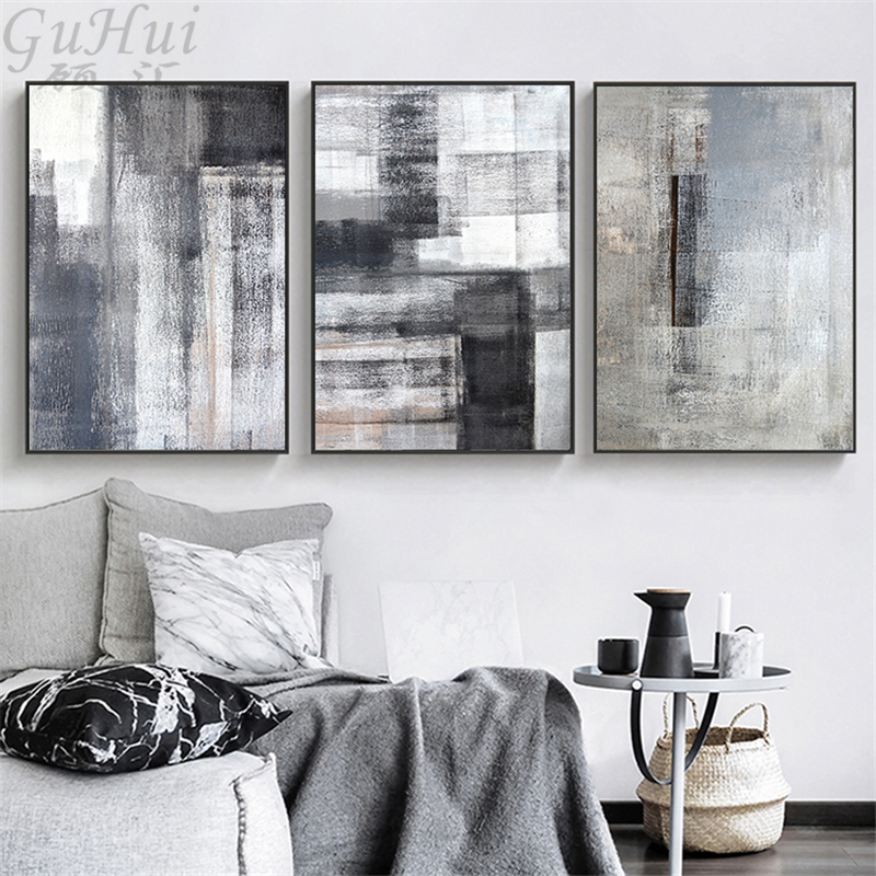 Minimalist Ink Abstract Canvas Painting Grey Black Color Block Landscape Modern Art Poster Wall Pictures Living Room Background