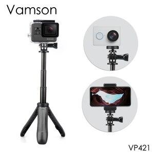 Image 1 - Экшн штатив с выдвижной ручкой Vamson для DJI OSMO, карманный мини штатив для селфи палки для Gopro Hero 7 6 5, черный для Xiaomi yi VP421