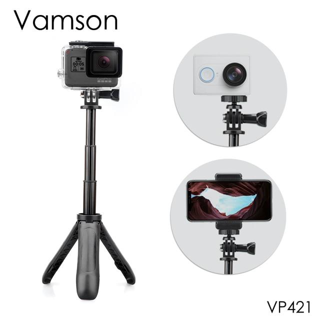 Экшн штатив с выдвижной ручкой Vamson для DJI OSMO, карманный мини штатив для селфи палки для Gopro Hero 7 6 5, черный для Xiaomi yi VP421