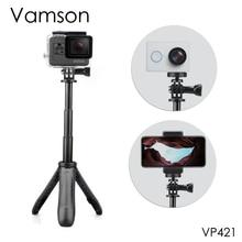 Vamson dji OSMO アクション拡張可能なハンドル三脚ポケットポールミニ Selfie スティック移動プロヒーロー 7 6 5 黒 xiaomi 李 VP421