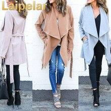 Women Solid Elegant Trench Long Sleeve Spring New Style Fashion Street Wear Windbreaker Outwear Laipelar Coat