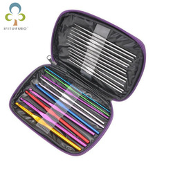 22 unids/set herramientas de agujas de tejer suéter de acero inoxidable juego de costura de mano suéter de Color tejido de ganchillo LYQ