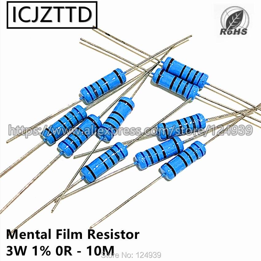 10 шт., металлический пленочный Резистор 3 Вт 1% 3 Вт 1% 75R 82R 91R 100R 120R 150R 180R 200R 220R 240R 270R 300R 330R 360R 390R 430R 470R 510R