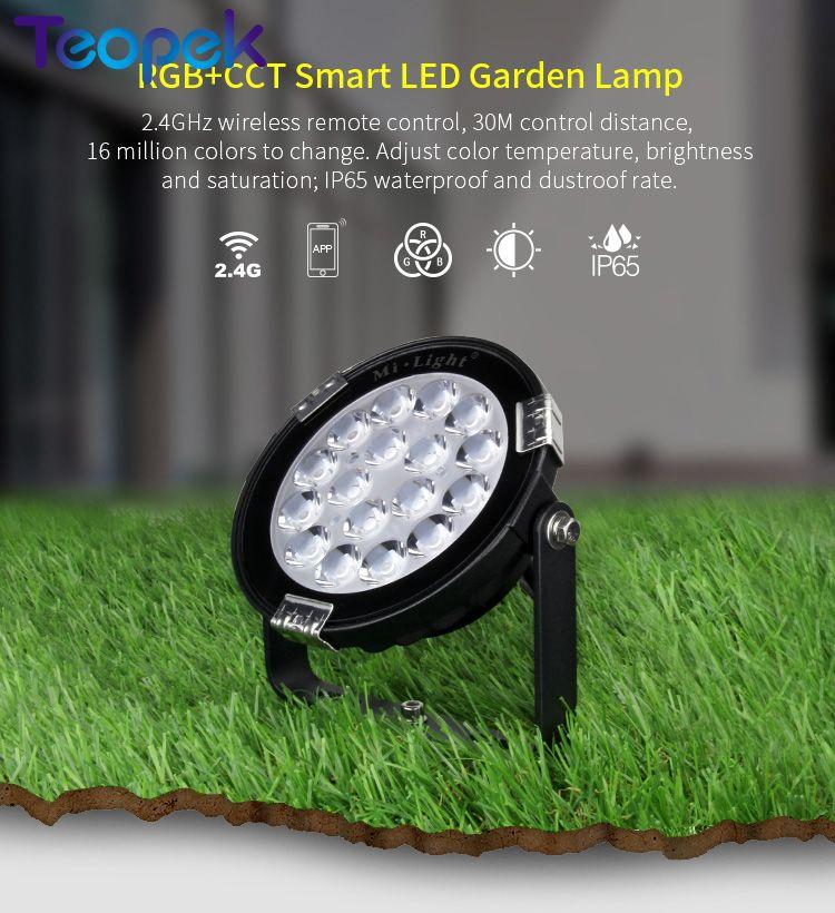 Mi.light 9W RGB+CCT LED Garden Light IP65 Waterproof Outdoor Lighting DC24V FUTC01 AC85-265V FUTC02