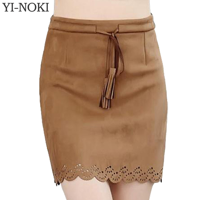 YI-NOKI Autumn Winter Womens Skirt New Fashion Suede Leather Skirts Women Lace Hollow Vintage Mini Sexy High Waist Pencil Skirt