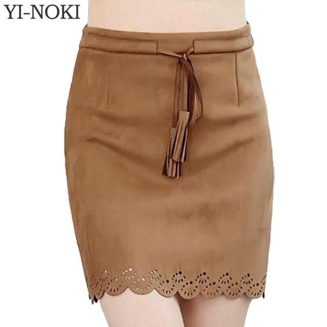 YI-NOKI versão coreana outono inverno camurça selvagem cinto oco saia de cintura alta saia lápis 2017 oco saias das mulheres