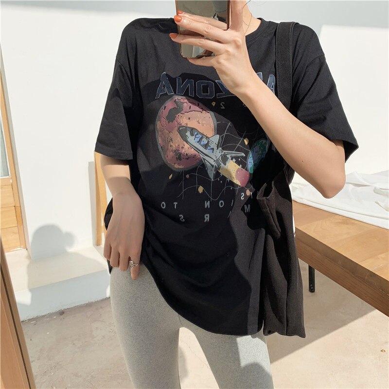 Camisa preta de T Mulheres Roupas Missão A Marte Nave Espacial Impressão Arizona Algodão Top T-Shirt
