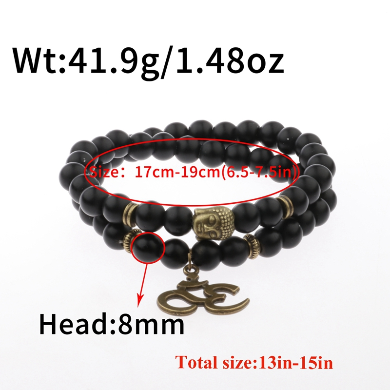 Charm Retro Buddha Bead Bracelet Men Black Natural Stone Chakra Bracelets Erkek Bileklik Bracelet Homme AB226 5