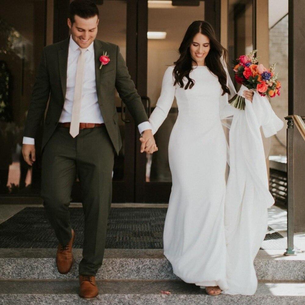 Simple Elegant Wedding Dress With Sleeves Woman And More: Simple Crepe Mermaid Modest Wedding Dresses Long Sleeves