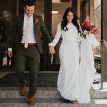 Simple Crepe Mermaid Modest Wedding Dresses Long Sleeves Elegant Country Western Women Modest Bridal Gowns Custom Made