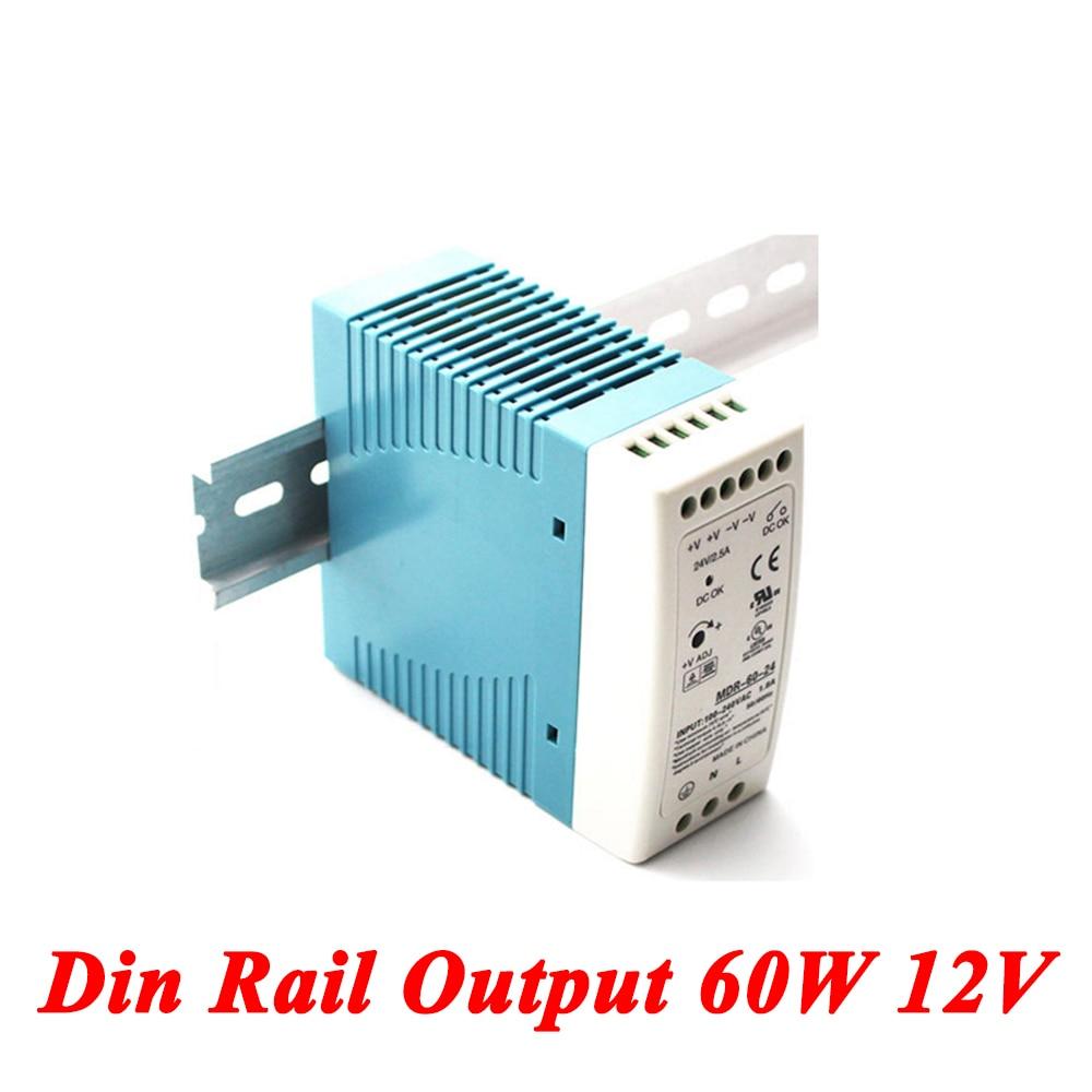 MDR-60 Din Rail Power Supply 60W 12V 5A,Switching Power Supply AC 110v/220v Transformer To DC 12v,ac dc converter original meanwell 12v 37 5a 450w se 450 12 switching power supply ac to dc 12v transformer 2 years warranty