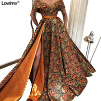 African A Line Evening Dresses Cap Sleeve Floor Length Formal Prom Dresses Customized Fabric vestido de festa 2018