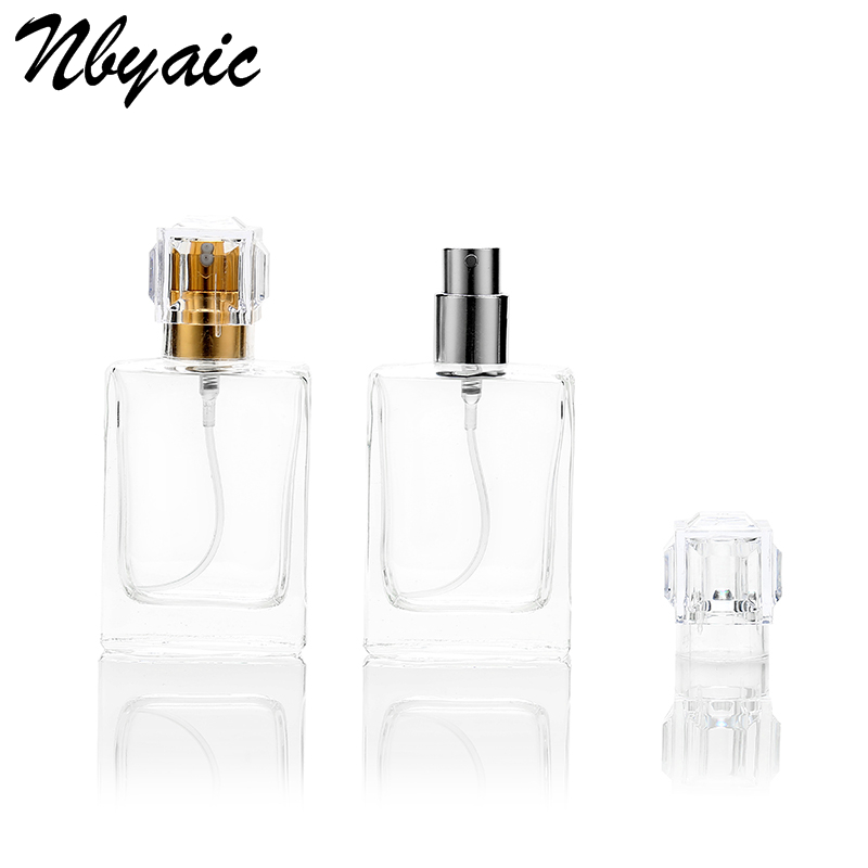 Nbyaic 1Pcs 30ML 50ML Fashion Portable Transparent Glass Perfume Bottle With Aluminum Atomizer Empty Cosmetic Case For Travel