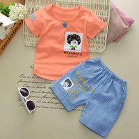 TOPSHOW 2018 Summer Children S Clothing Baby Boys Girls Cloth Sets Short Sleeve Cartoon Print Wild