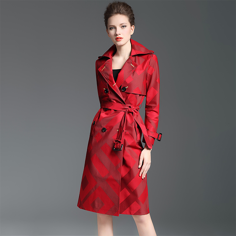 S-2XL! Brand Luxury   Trench   Overcoat 2018 Spring Autumn Women Elegant Double Breasted Plaid Plus Size Long Coat Female Red   Trench