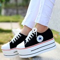 2017 spring new white canvas shoes all  women casual star loose bottom thick shallow mouth with shoes flat platform 168
