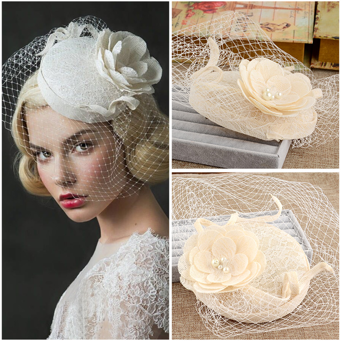 Vintage Wedding Bridal Hair Accessories Flower Tulle Birdcage Veil Headpiece Head Veil 2016 Cheap Mini Wedding Bride Hat