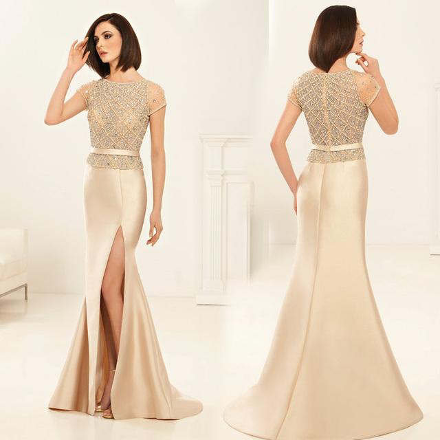 Exquisite Beading cristal sereia alta fenda lateral vestido de Vestidos de madrinha mãe da noiva Vestidos Plus Size XMD69