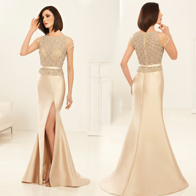 26b7dd8ee3 Exquisite Long Beading Crystal Mermaid Gown Vestidos de Madrina High Slit  Side Mother Of The Bride Dresses Plus Size XMD69-in Mother of the Bride ...