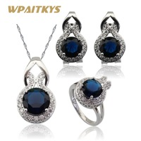 New Style Blue Sapphire White Topaz Jewelry Sets Women Silver Necklace Pendant Earrings Rings Free Jewelry